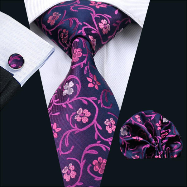 2016 Fashion Ties For Men Floral Silk Jacquard Woven Necktie Hanky Cufflink Set For Business Wedding Party Free Shipping FA-1000
