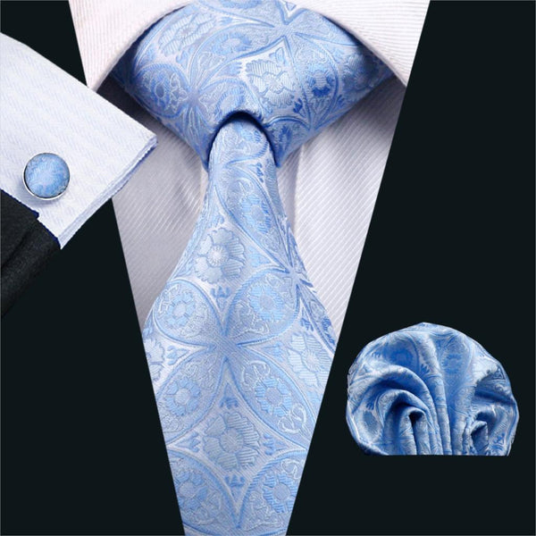 FA-481 Men`s Tie Skyblue Floral Paisley Silk Jacquard Woven Tie Hanky Cufflinks Set For Men Business Wedding Party Free Shipping
