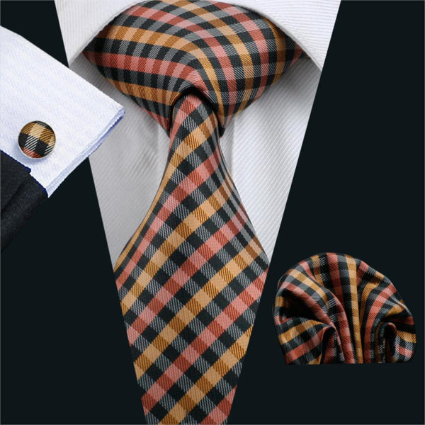 2016 Ties For Men Plaid Silk Jacquard Woven Necktie Gravata Hanky Cufflinks Set For Business Wedding Party Free Shipping FA-1009
