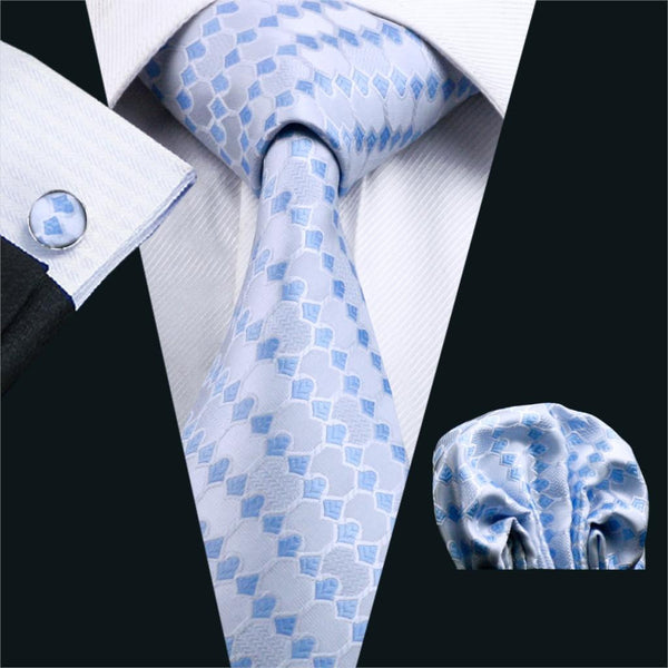 Classic Ties For Men Blue&White Novelty Silk Jacquard Woven Tie Hanky Cufflinks Set For Business Wedding Free Shipping FA-990