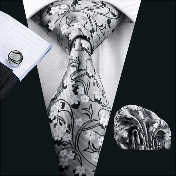 2016 Classic Ties For Men Novelty Silk Jacquard Woven Necktie Hanky Cufflink Set For Business Wedding Party Free Shipping FA-996
