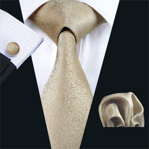 FA-1116 Men`s Ties Gold Novelty Silk Jacquard Neck Tie Hanky Cufflinks Set Ties For Men Business Wedding Party Free Shipping