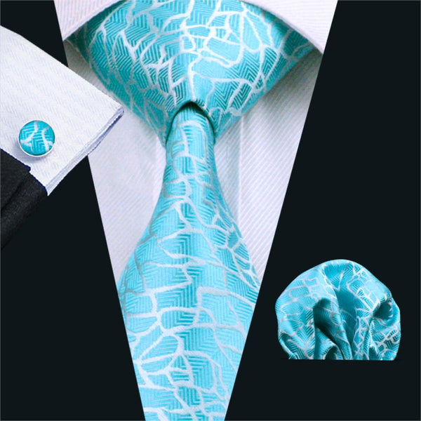 FA-1038 Mens Ties Blue Novelty Silk Jacquard Neck Tie Hanky Cufflinks Set Ties For Men Business Wedding Party Free Shipping