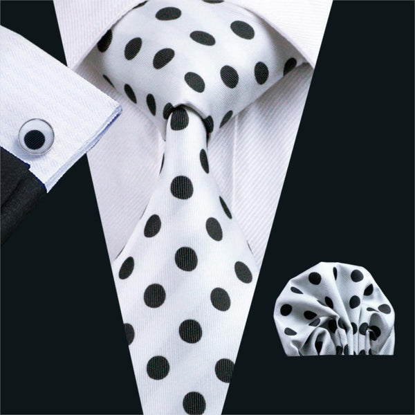 FA-1057 Mens Ties White Dot Silk Jacquard Neck Tie Hanky Cufflinks Set Ties For Men Business Wedding Party Free Shipping