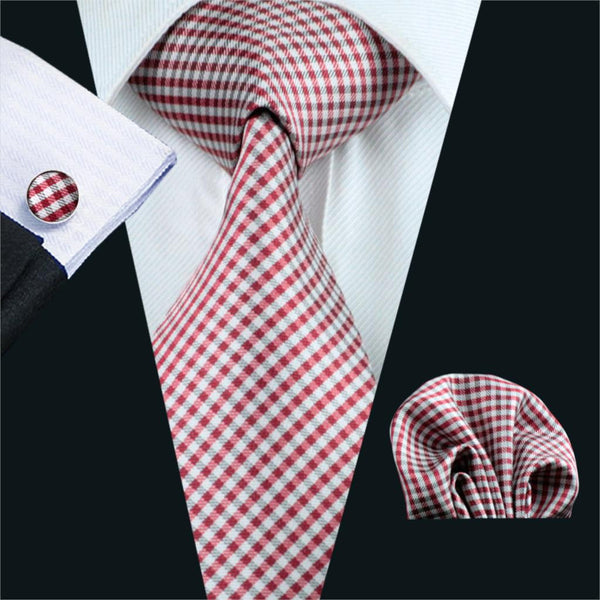 FA-1037 Mens Ties Red Plaid Silk Jacquard Neck Tie Hanky Cufflinks Set Ties For Men Business Wedding Party Free Shipping