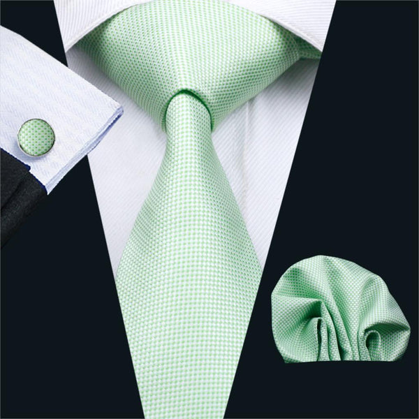 FA-1069 Mens Ties Green Novelty Silk Jacquard Neck Tie Hanky Cufflinks Set Ties For Men Business Wedding Party Free Shipping