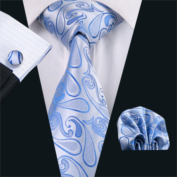 FA-1157 Men`s Ties Blue Paisley Gravata Silk Neck Tie Hanky Cufflinks Set Ties For Men Business Wedding Party Free Shipping