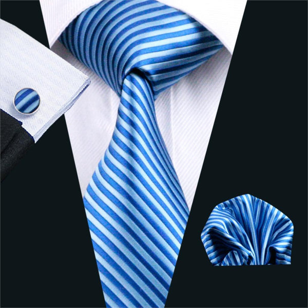 FA-1204 Men`s Ties Blue Stripe Gravata Silk Neck Tie Hanky Cufflinks Set Ties For Men Business Wedding Party Free Shipping