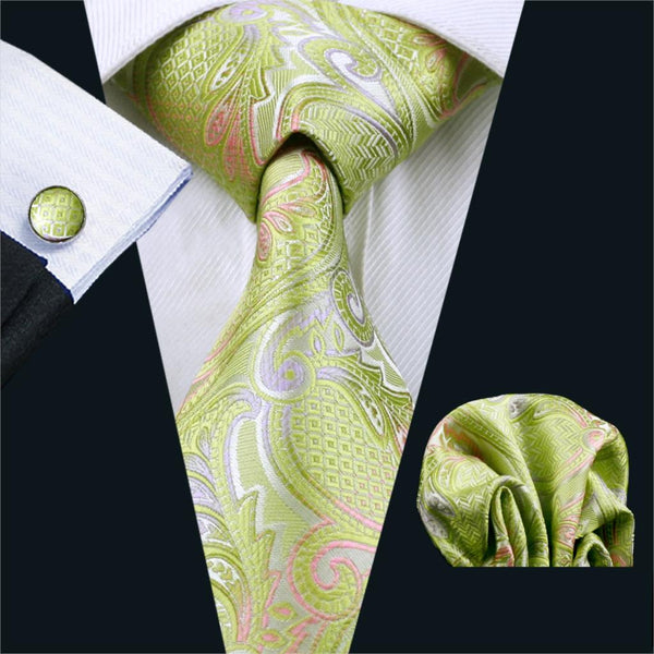 FA-411 Ties For Men Tie Paisley Silk Jacquard Woven classic Tie Hanky Cufflinks Set For Men Business Wedding Party Free Shipping