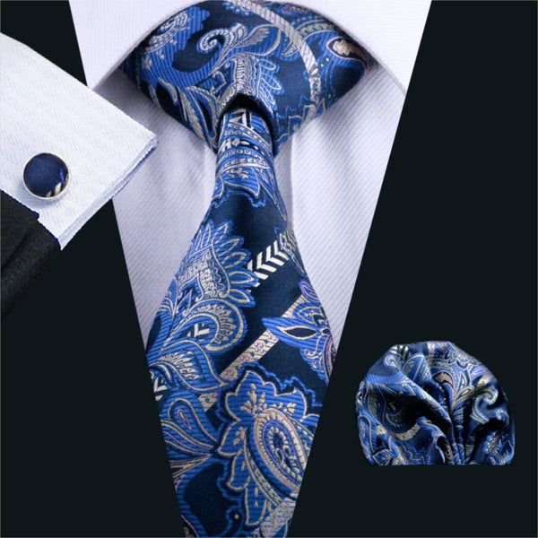 FA-613 Mens Tie Blue Paisley Silk Jacquard Neck tie Tie Hanky Cufflinks Set Ties For Men Business Wedding Party Free Shipping