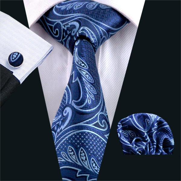 FA-635 Mens Tie Blue Paisley Silk Jacquard Neck tie Tie Hanky Cufflinks Set Ties For Men Business Wedding Party Free Shipping