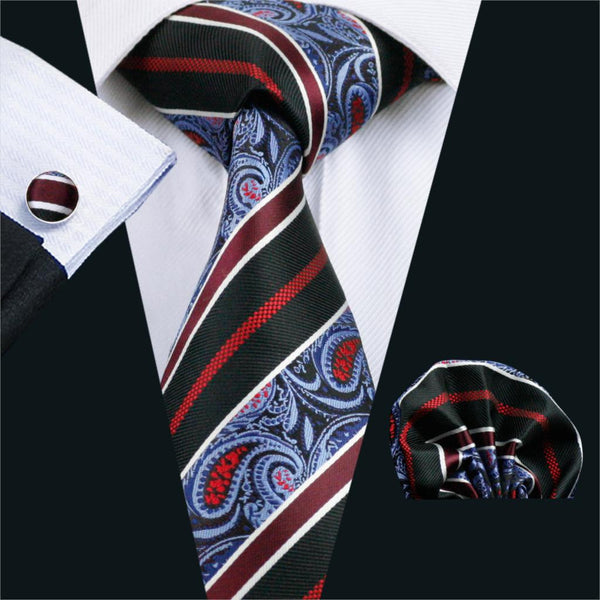 FA-499 Mens Tie Multi-Color Paisley Silk Jacquard Tie Hanky Cufflinks Set Ties For Men Business Wedding Party Free Shipping