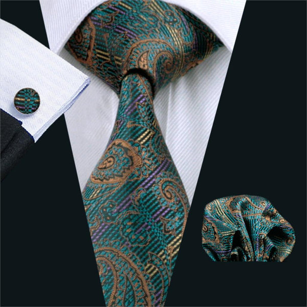 FA-519 Mens Tie Green Paisley Silk Jacquard Classic Tie Hanky Cufflinks Set Ties For Men Business Wedding Party Free Shipping