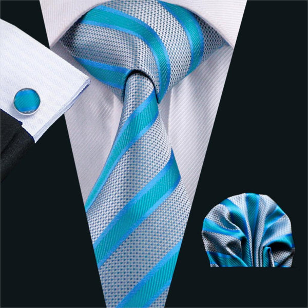 FA-568 Mens Tie Blue Stripe Silk Jacquard Classic Tie Hanky Cufflinks Set Ties For Men Business Wedding Party Free Shipping