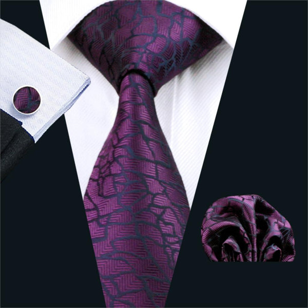 FA-1004 Mens Tie Purple Novelty Silk Jacquard Neck Tie Hanky Cufflinks Set Ties For Men Business Wedding Party Free Shipping