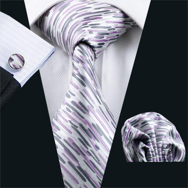 FA-1013 Men`s Tie Purple Novelty Silk Jacquard Neck Tie Hanky Cufflinks Set Ties For Men Business Wedding Party Free Shipping