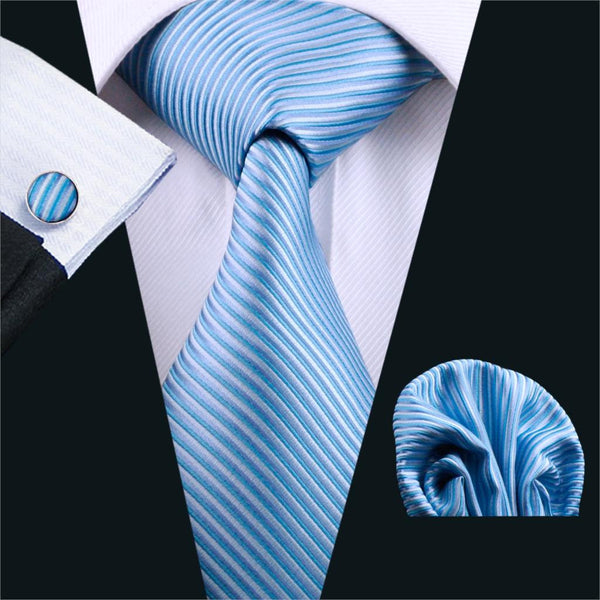 FA-793 Mens Tie Blue Stripe Silk Jacquard Neck tie Classic Tie Hanky Cufflinks Set Ties For Men Business Wedding Free Shipping