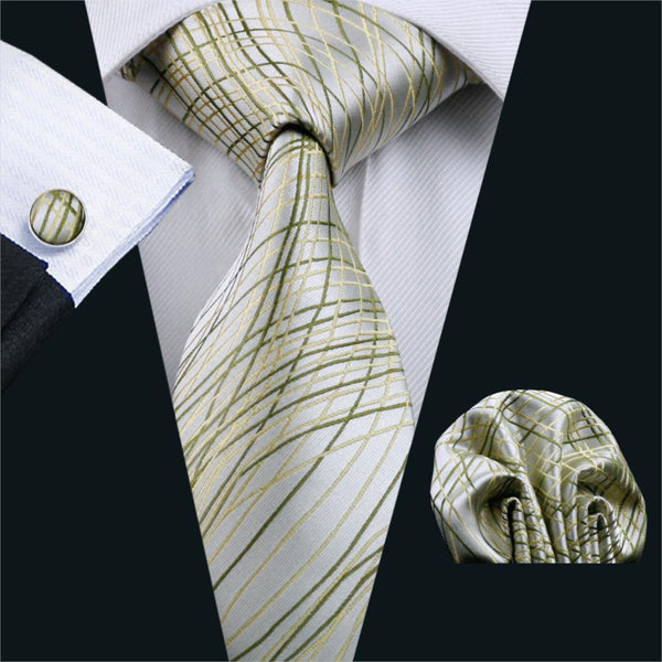 2016 Men`s Tie Yellow Classic Novelty Silk Jacquard Woven Gravata Necktie Hanky Cufflinks Set For Business Wedding Party FA-1173