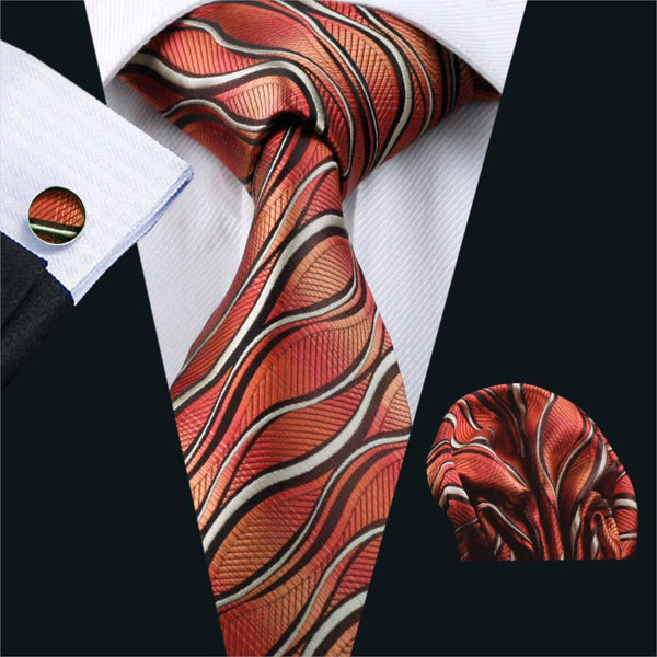 2016 Men`s Tie Red Classic Novelty Silk Jacquard Woven Gravata Necktie Hanky Cufflinks Set For Business Wedding Party FA-1176