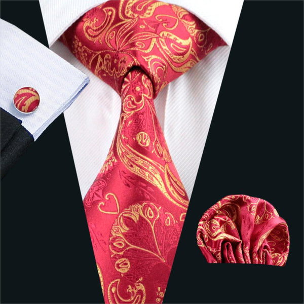 FA-367 Gents Necktie Red Paisley 100% Silk Jacquard Tie Hanky Cufflinks Set Business Wedding Party Ties For Men Free Shipping