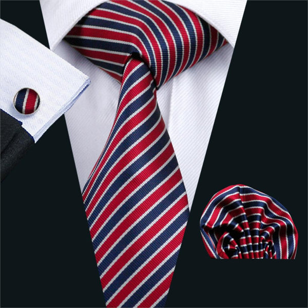 FA-512 Gents Necktie Red Stripe 100% Silk Jacquard Tie Hanky Cufflinks Set Business Wedding Party Ties For Men Free Shipping