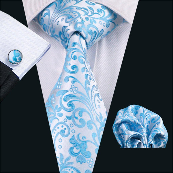 FA-1080 Gents Necktie Blue Novelty 100% Silk Jacquard Tie Hanky Cufflinks Set Business Wedding Party Ties For Men Free Shipping