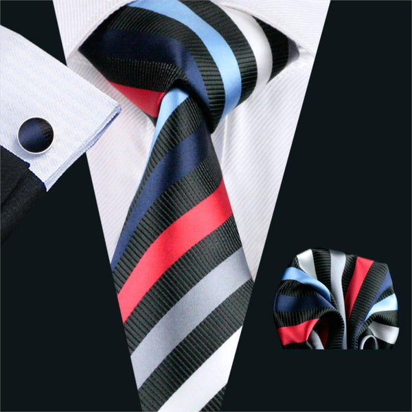 FA-1085 Gents Necktie Black Stripe 100% Silk Jacquard Tie Hanky Cufflinks Set Business Wedding Party Ties For Men Free Shipping
