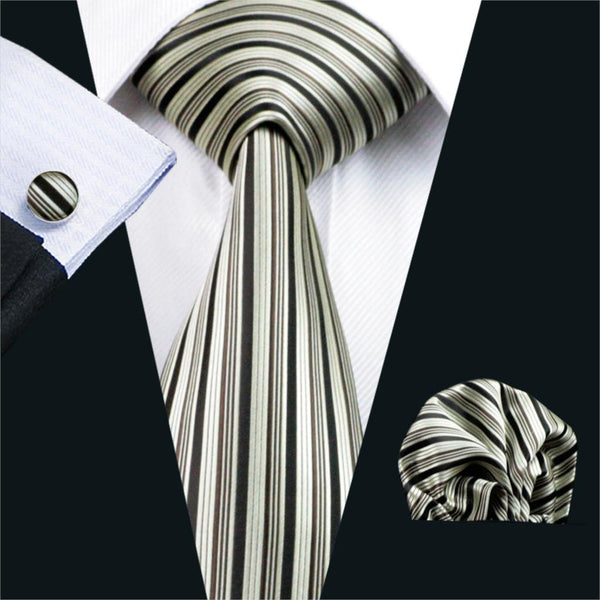 FA-529 Gents Necktie Sienna Stripe 100% Silk Jacquard Tie Hanky Cufflinks Set Business Wedding Party Ties For Men Free Shipping