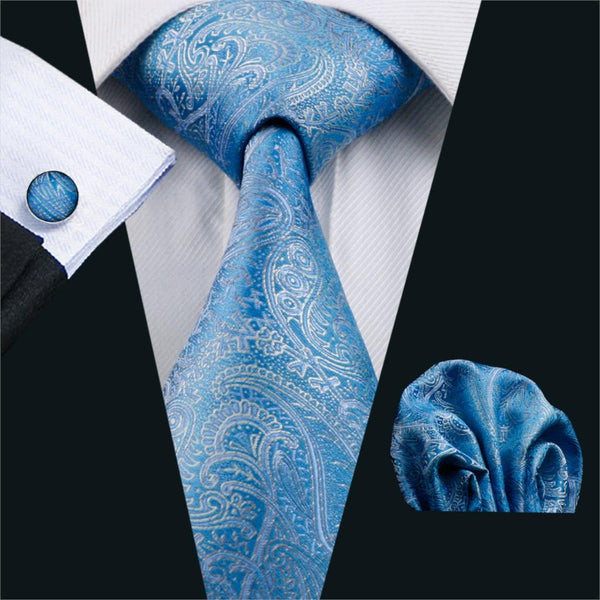 FA-566 Gents Necktie Blue Paisley 100% Silk Jacquard Tie Hanky Cufflinks Set Business Wedding Party Ties For Men Free Shipping