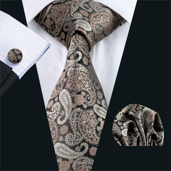 FA-1121 Gents Necktie Brown Paisley 100% Silk Jacquard Tie Hanky Cufflinks Set Business Wedding Party Ties For Men Free Shipping