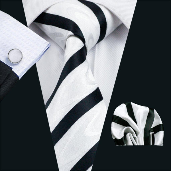 FA-1135 Gents Necktie White Stripe 100% Silk Jacquard Tie Hanky Cufflinks Set Business Wedding Party Ties For Men Free Shipping