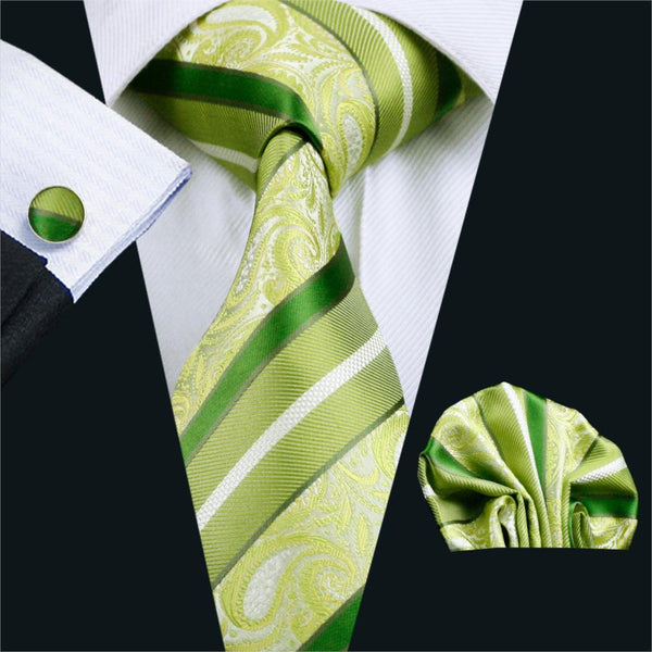 FA-452 Gents Necktie Green Stripe 100% Silk Jacquard Tie Hanky Cufflinks Set Business Wedding Party Ties For Men Free Shipping