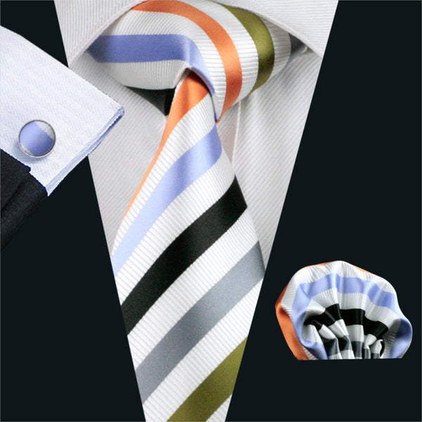 FA-1090 Gents Necktie White Stripe 100% Silk Jacquard Tie Hanky Cufflinks Set Business Wedding Party Ties For Men Free Shipping