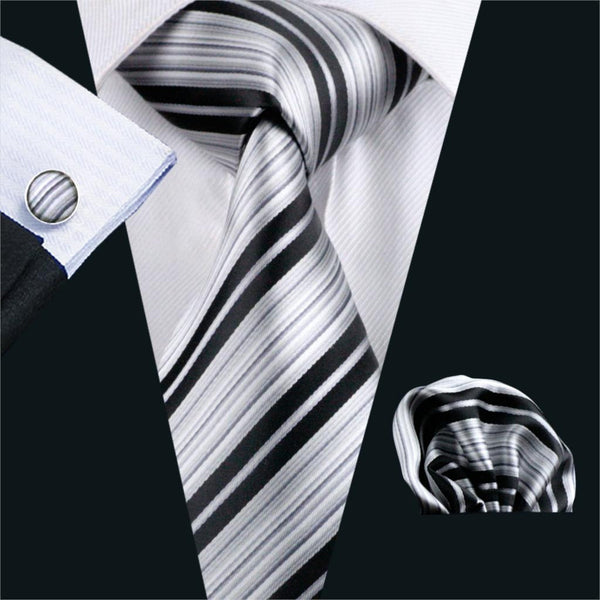 FA-670 Gents Necktie Gray Stripe 100% Silk Jacquard Tie Hanky Cufflinks Set Business Wedding Party Ties For Men Free Shipping