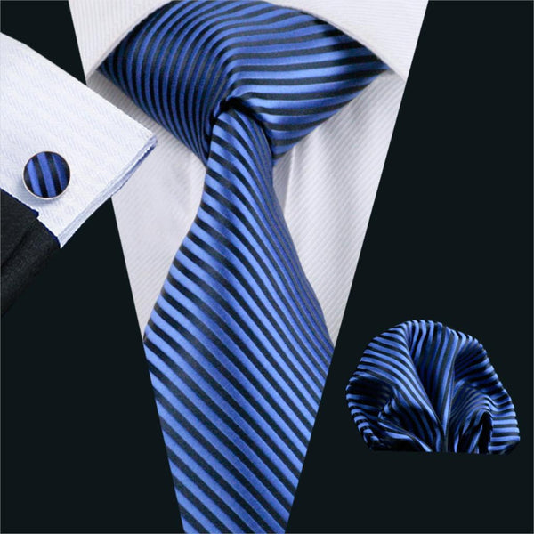 FA-652 Gents Necktie Blue Stripe 100% Silk Jacquard Tie Hanky Cufflinks Set Business Wedding Party Ties For Men Free Shipping