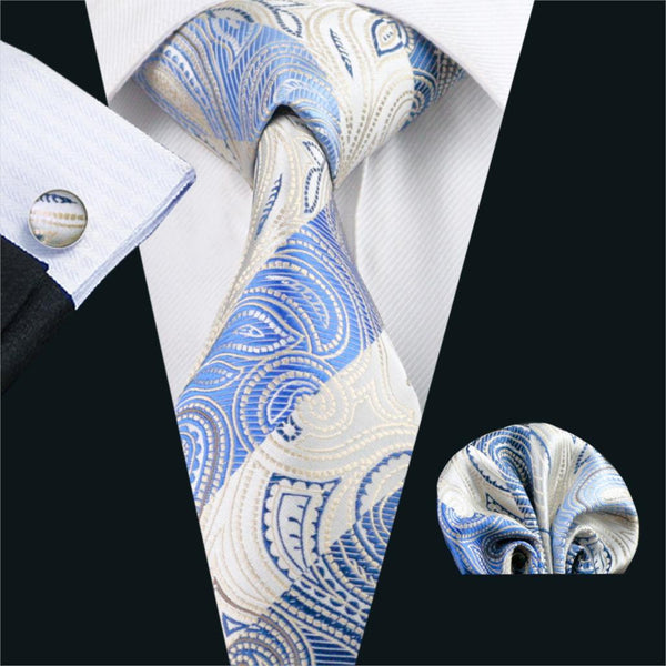 FA-492 Gents Necktie Blue Paisley 100% Silk Jacquard Tie Hanky Cufflinks Set Business Wedding Party Ties For Men Free Shipping
