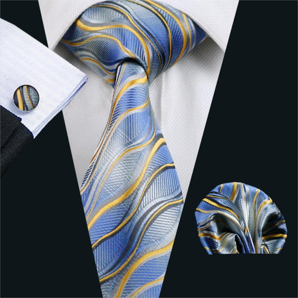 FA-1084 Gents Necktie Blue Novelty 100% Silk Jacquard Tie Hanky Cufflinks Set Business Wedding Party Ties For Men Free Shipping