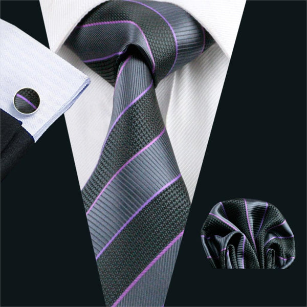FA-591 Gents Necktie Black Stripe 100% Silk Jacquard Tie Hanky Cufflinks Set Business Wedding Party Ties For Men Free Shipping