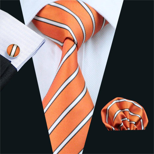 FA-262 Gents Necktie Orange Stripe 100% Silk Jacquard Tie Hanky Cufflinks Set Business Wedding Party Ties For Men Free Shipping
