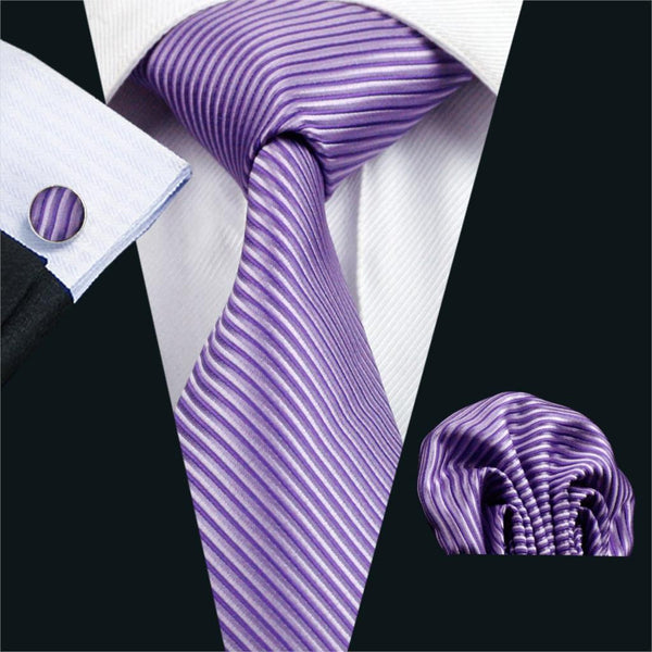 FA-913 Barry.Wang Hot Mens Ties Purple Stripe Tie Hanky Cufflink Set Men's Business Gift Ties For Men Free Shipping