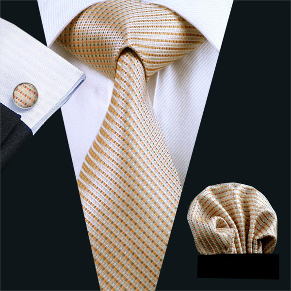 FA-688 Mens Ties Yellow Stripe Silk Jacquard Tie Hanky Cufflinks Set Necktie Business Wedding Party Ties For Men Free Shipping
