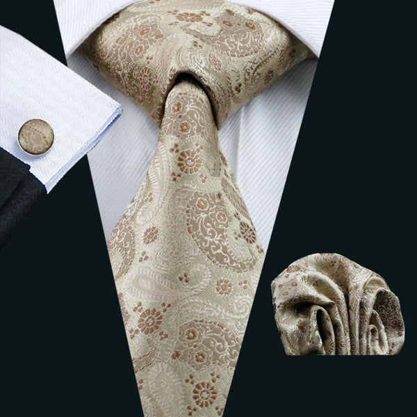 Barry.Wang Mens Tie Brown Novelty 100% Silk Fashion Gravata Necktie Hanky Cufflinks Set For Men Formal Wedding Party LS-1152