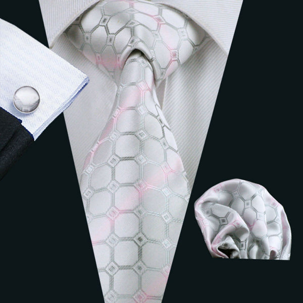 Classic Men`s Tie Novelty Jacquard Woven 100% Silk Brand Tie Hanky Cufflinks Set For Wedding Business Party Free Postage LS-1123