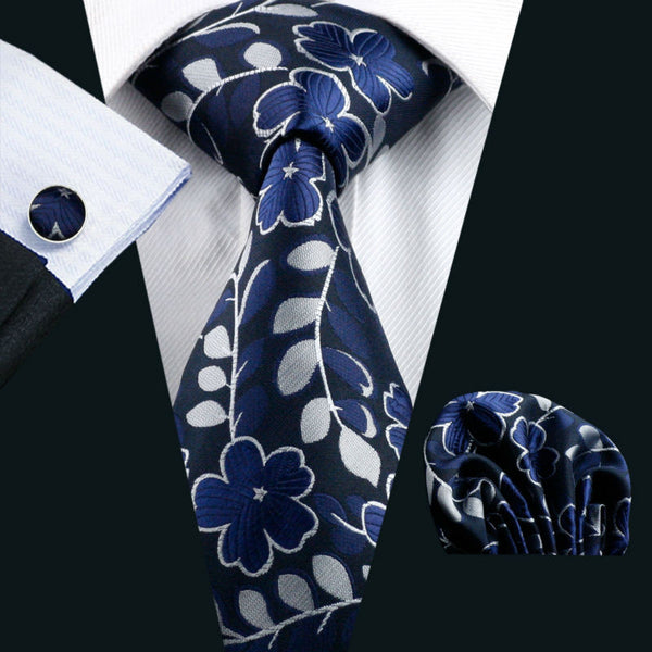 Barry.Wang Mens Tie Blue Floral 100% Silk Fashion Gravata Necktie Hanky Cufflinks Set For Men Formal Wedding Party LS-  1160