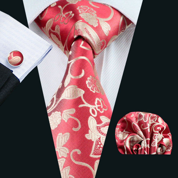Barry.Wang LS-1132 Men Tie Red Floral 100% Silk Fashion Necktie Hanky Cufflinks Set For Men Formal Wedding Party Groom Hot Sell