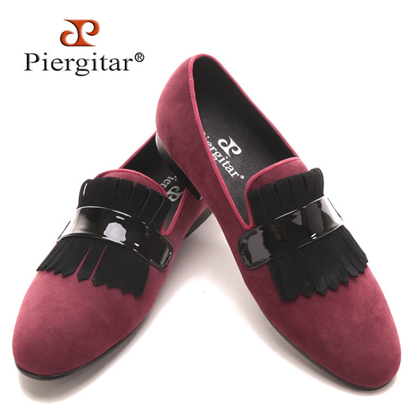 Piergitar Handmade Men red velvet  classic loafers with large suede fringed Fashion Party and Banquet men's flats dress shoes
