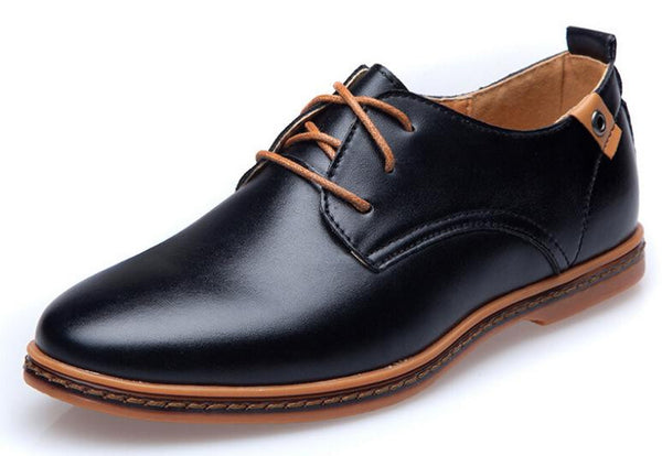 ForU New 2015 Men Leather casual shoes Leather Lace-up Shoes Black Brown Flat Leather Oxford shoes Plus size 38~47