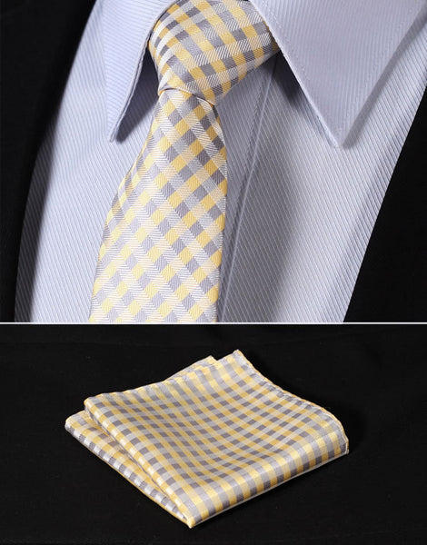 "TC2007Y7 Yellow Beige Check 2.75"" 100%Silk Woven Slim Skinny Narrow Men Tie Necktie Handkerchief Pocket Square Suit Set"