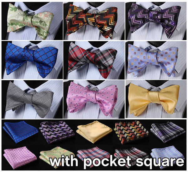 Check Floral 100% Silk SELF TIE BOW TIE POCKET SQUARE