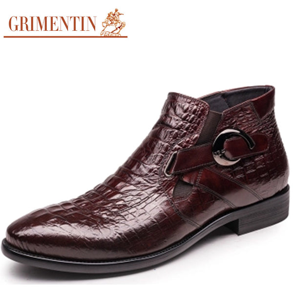 GRIMENTIN fashion mens ankle boots genuine leather comfortable buckle crocodile men dress shoes for wedding O50